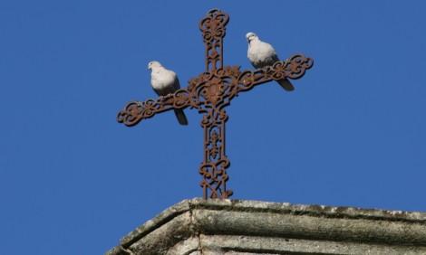 twee duiven op het kruis